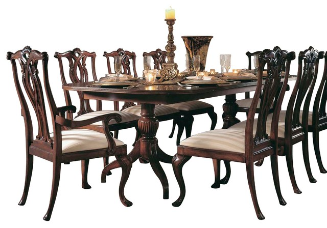 Delightful American Drew Cherry Grove 7 Piece Dining Room Set In Antique Cherry