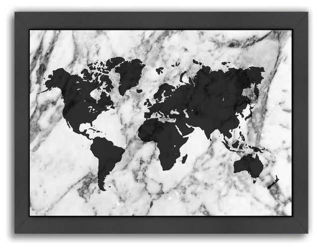 marble world map print gray