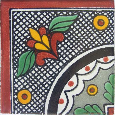 6x6 4 Pcs Black Arc Corner Talavera Mexican Tile.