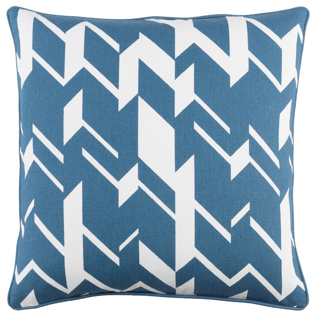 Modern Cotton Bright Blue and White Accent Pillow, 18  x18