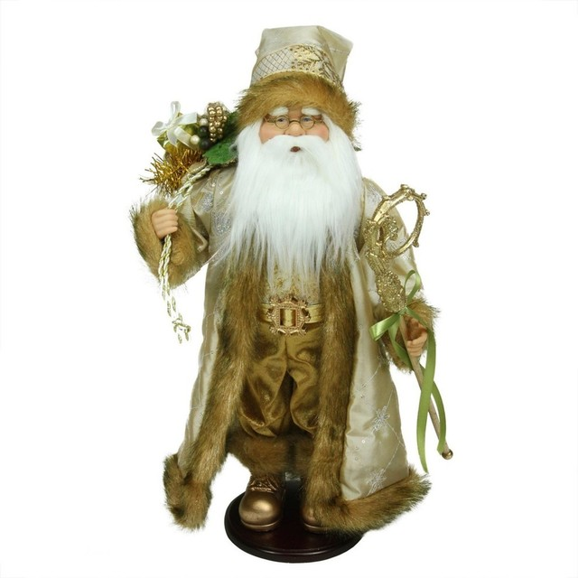 "18.25"" Winter Light Santa Claus With Jacquard Jacket Christmas Decoration."