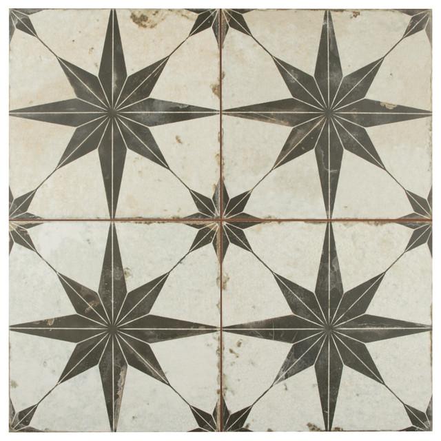 SomerTile Estrella Nero Ceramic Floor and Wall Tile