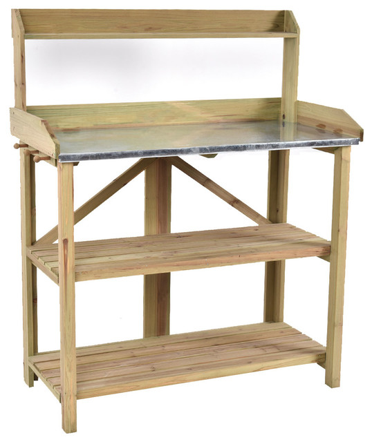 Costway Outdoor Garden Wooden Potting Work Bench Planting Workbench W/ 3  Shelf   Transitional   Potting Benches   By Goplus Corp