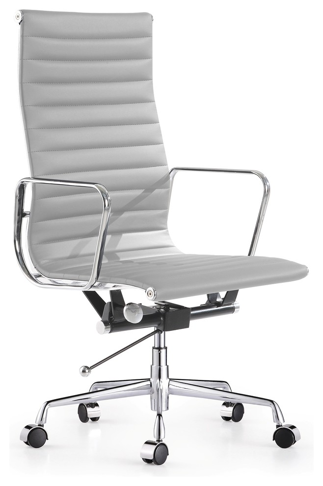Aluminum Ribbed High Back Leather Management Office Chair Gray Contemporary Office Chairs By Modern Selections