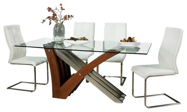 Pastel Akasha 7 Piece Glass Dining Room Set With Olandar Side Chairs
