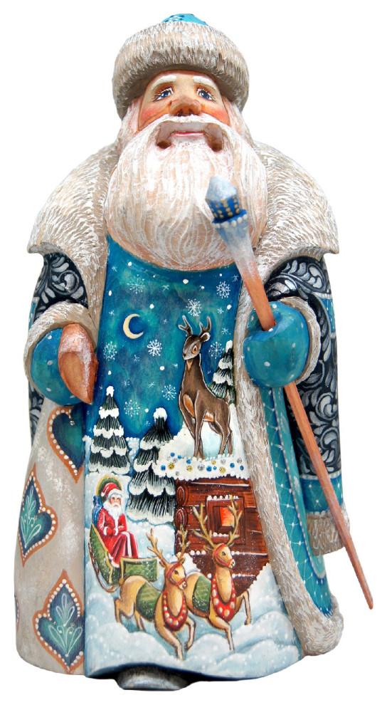 Santa Woodcarved Figurine Traditional Holiday Accents And Figurines By G Debrekht Houzz