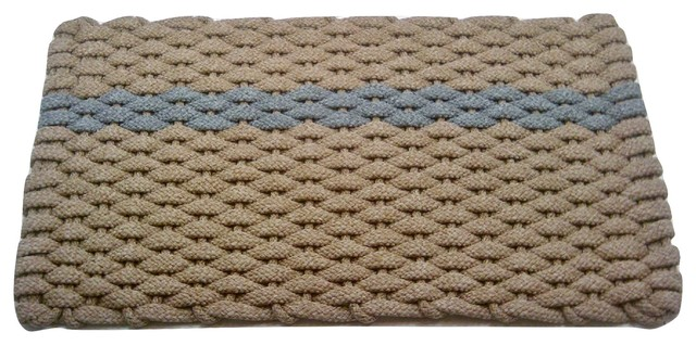 "Rockport Rope Door Mat, 20""x30"", Tan With Offset Gray Stripe Tan Insert."