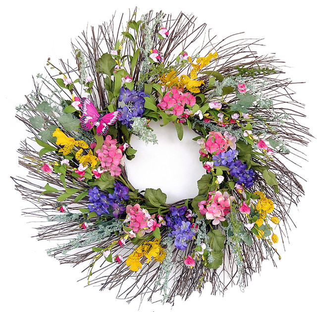 Wispy Colorful Spring Wreath With Butterfly Farmhouse Artificial