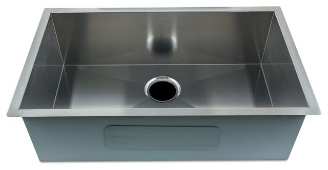 Zero-Radius Kitchen Stainless Steel Sink,Under-mount Single Bowl, 30x18x9