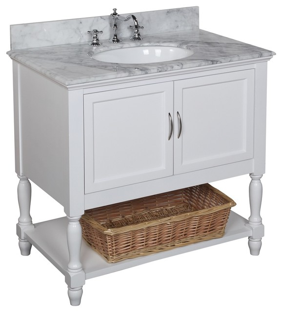 Beverly Bath Vanity Base White Top Carrara Marble 36