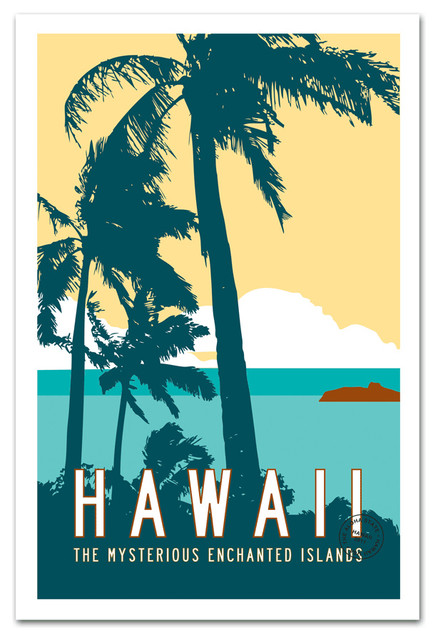 Vintage Style Hawaii Tropical Art Print Traditional