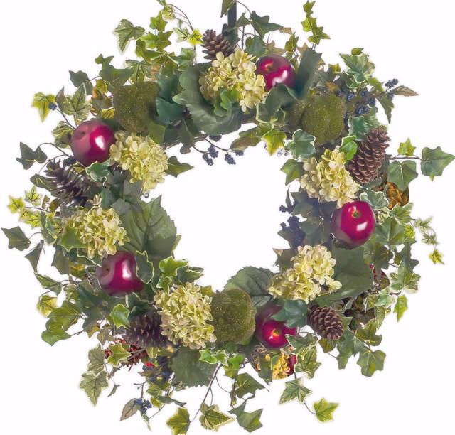"""Lois&x27; Hydrangea And Apple Wreath Sw241, 26""""."""