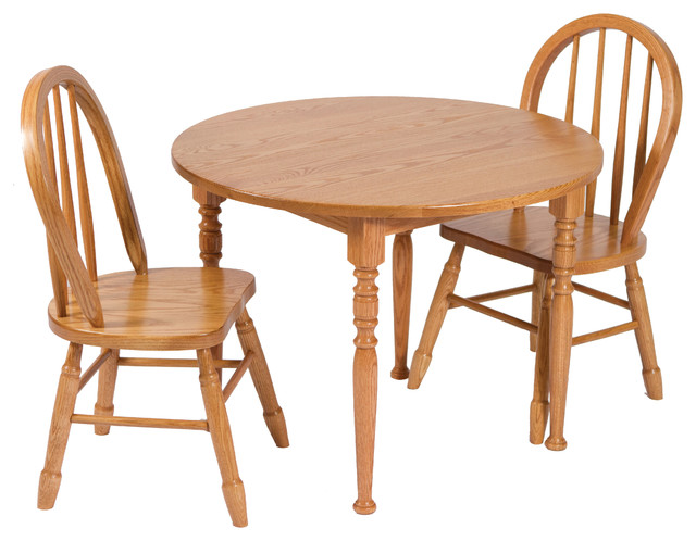 Amish Made Heirloom Child S Round Oak Table And Chairs Set