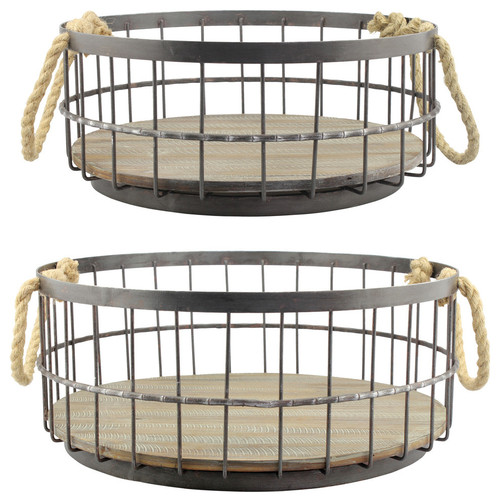 2-Piece Wire and Wood Coastal-Style Basket Set