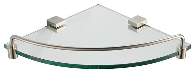 Fresca Ottimo Corner Glass Shelf, Brushed Nickel
