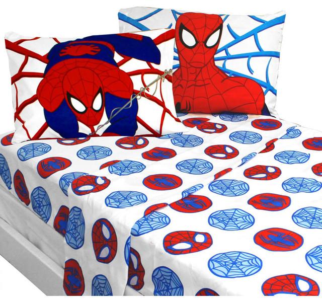 marvel bold spiderman full sheet set superhero bedding traditional kids bedding - Kids Full Sheets