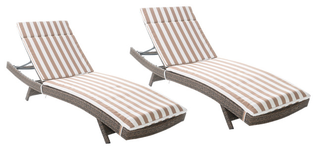 Savana Outdoor Wicker Lounge With Water Resistant Cushions, Set Of 2