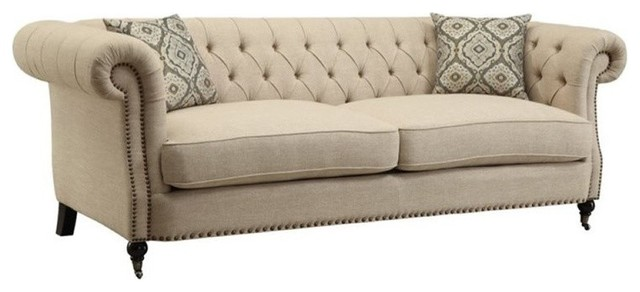 Bowery Hill Tufted Contemporary Sofa with Rolled Arms in Oatmeal