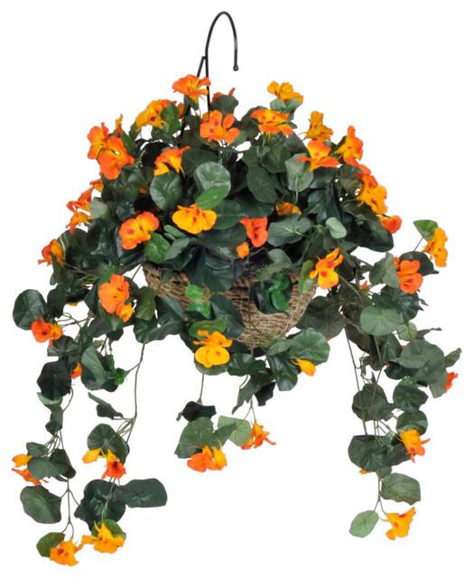 Artificial Purple Petunia In Cone Hanging Basket Traditional Flower Arrangements