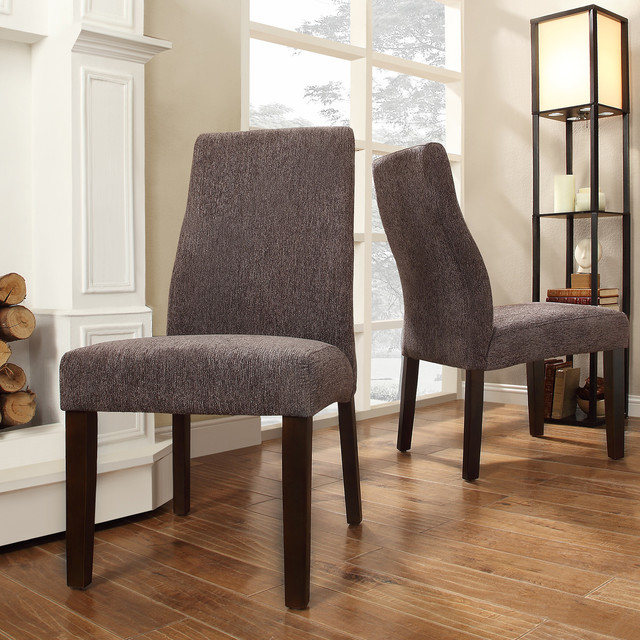 Inspire q marcey dark grey chenille wave back dining chair for Inspire q dining room chairs