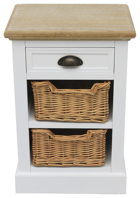 Charles Bentley Country Basket Bedside Table With 2-Wicker Basket