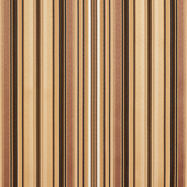 Brown, Gold Silver Shiny Thin Striped Faux Silk Upholstery Fabric By The Yard