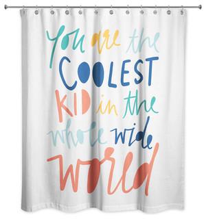 Coolest Kid Rainbow Text 71x74 Shower