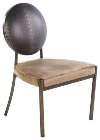 Elaina Side Chair, Black, Brown.