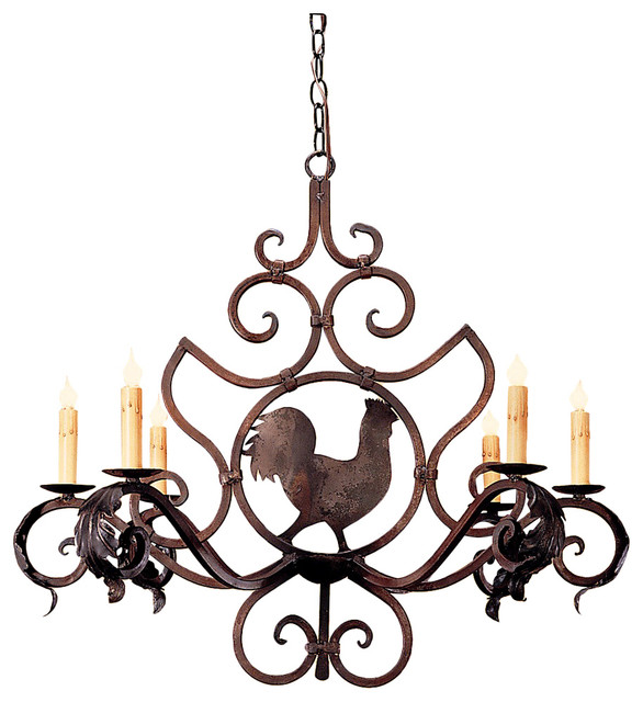 Currey And Company Lucien: Rooster Medallion Chandelier, Small