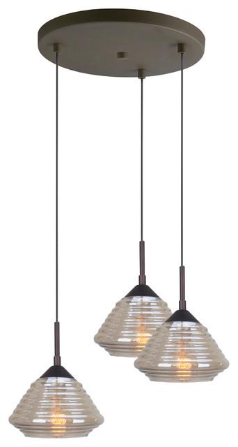 Queen Style 3-Light Ceiling Cluster Pendant, Matte Black.