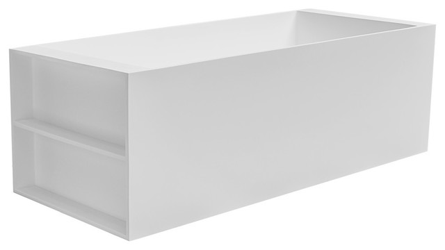 71 Laredo Solid Surface Freestanding Tub With Side Shelves, Matte White.