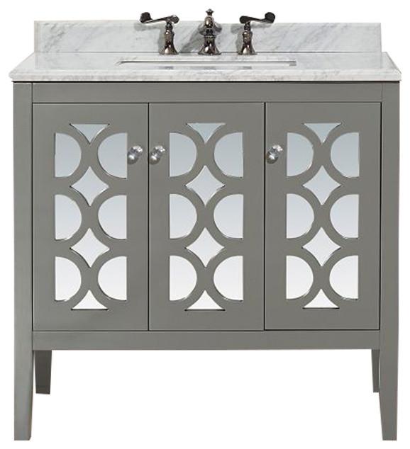 "Mediterraneo Collection 36"" Gray Vanity With Countertop."