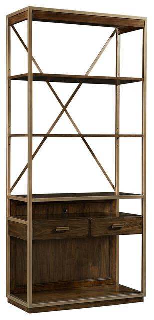 Dallas Modern Classic Walnut Weathered Bronze Bookcase.