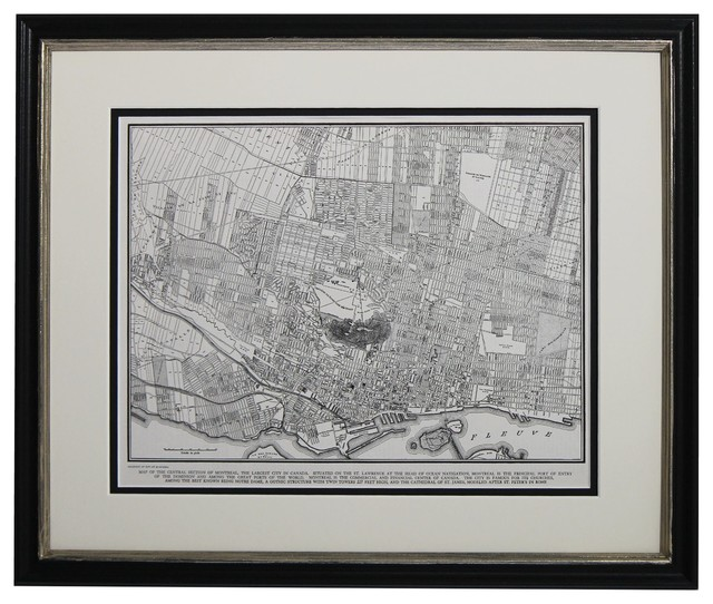 Original Vintage Framed Map Of Montreal Canada 1949