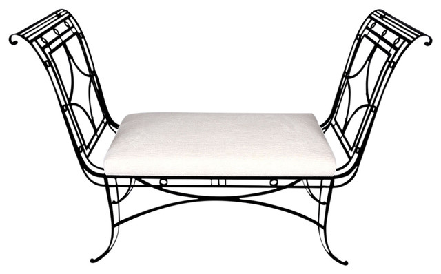 Consigned Vintage Regency-Style Iron Bench. -1