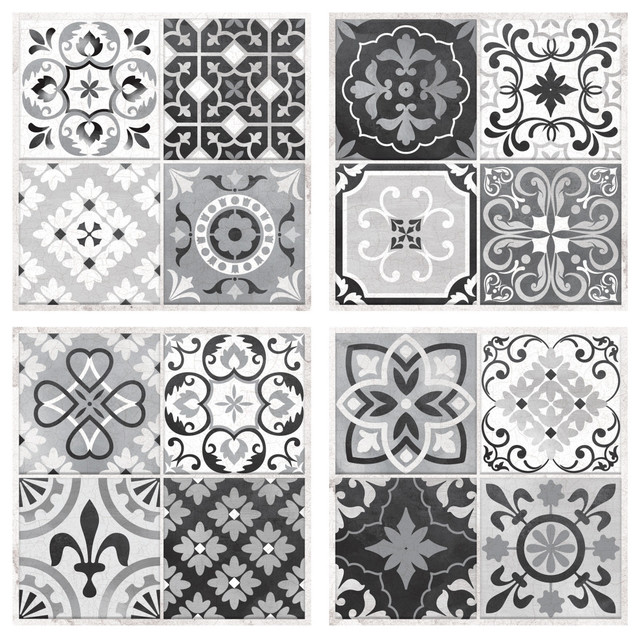 Sticktiles Gray Spanish Mosaic Peel And Stick, Set Of 4.