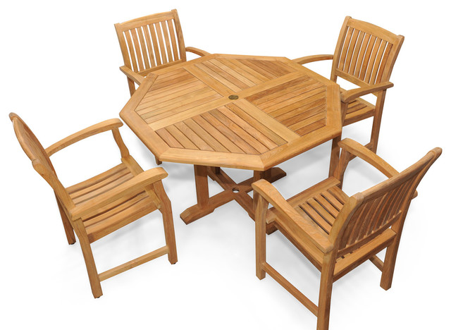 Bar Height Glass Table, Teak Outdoor Dining Set For 4 Octagon Table 4 Teak Dining Chairs Craftsman Outdoor Dining Sets By Goldenteak Teak Patio Furniture