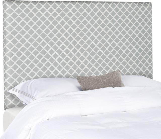 Safavieh Sydney Lattice Headboard, Gray And White.