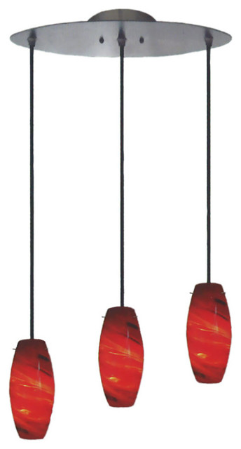 Brushed Nickel And Amaretto Red 3-Light Pendant.