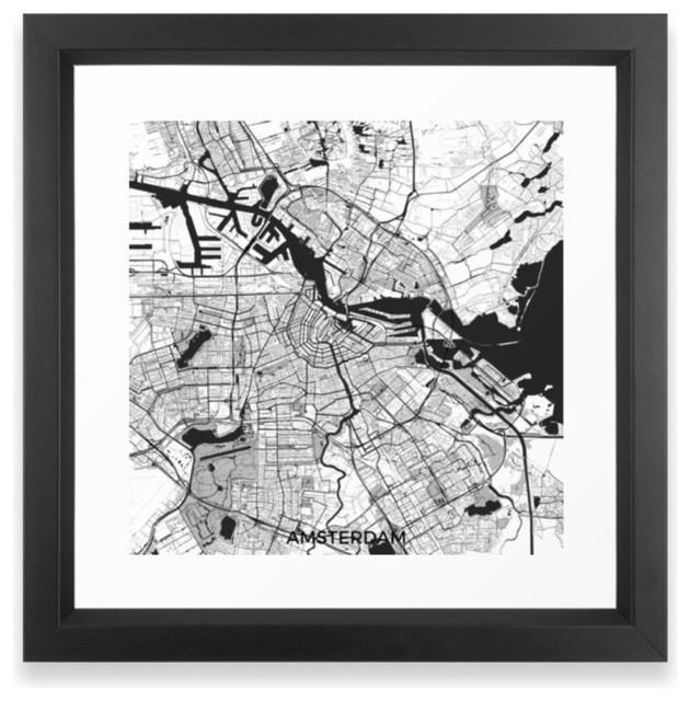 Amsterdam Map Gray Framed Print Vector Black Contemporary