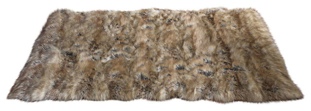 Wild Mannered Faux Fur Accent Rug Amber Fox
