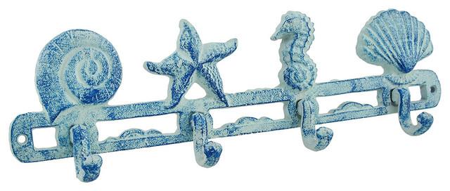 Blue Cast Iron Beach Themed Wall Hooks.