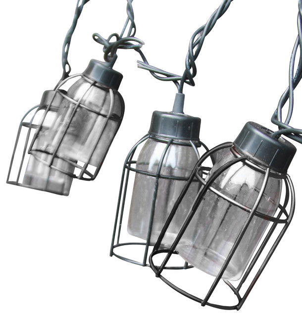 Vintage Style Cage String Lights, Set Of 10 Industrial Outdoor Rope