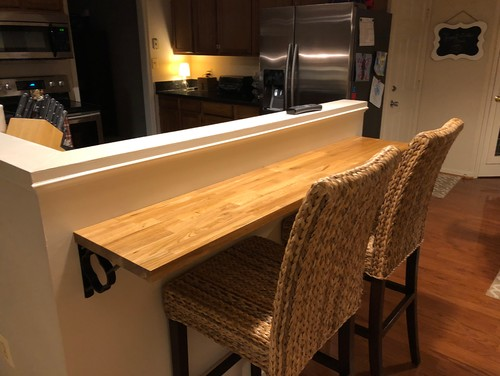 Butcher Block Breakfast Bar Kitchen : Half wall for breakfast bar or remove.
