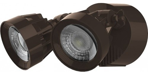 Led Security Light, Dual Head, Bronze Finish, 4000k, 2000 Lumens.
