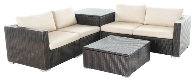 Gdf Studio 6 Piece Cortez Outdoor Storage Sectional With Coffee Table