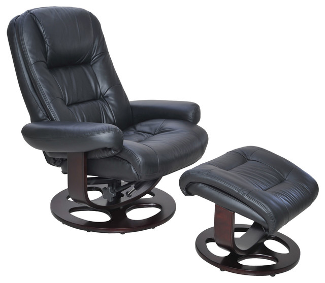 Barcalounger Jacque II Leather Recliner And Ottoman, Black
