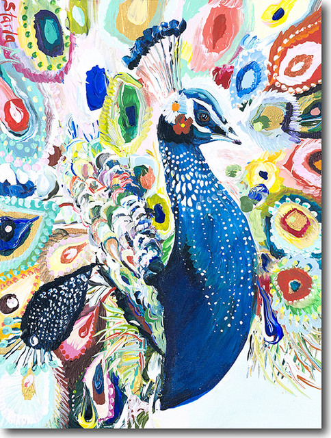 """p For Peacock"" Artwork By Starla Michelle Halfmann, 9""x12""."