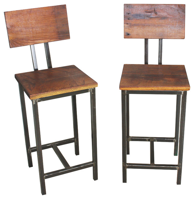 Reclaimed Wood Stools Set Of 2 Bar And Counter