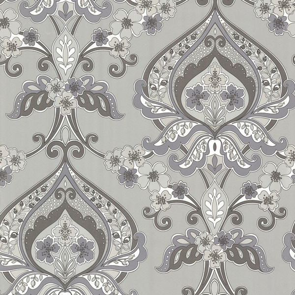 Ashbury Gray Paisley Damask Wallpaper Contemporary By Brewster Home Fashions